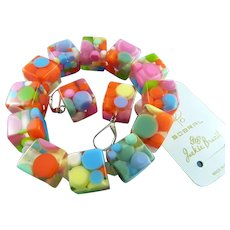 Sobral Jackie Brazil Signed Bubble Gum Polka Dot Resin Bracelet & Earrings