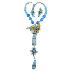 Signed Stanley Hagler Crystal Butterfly Blue Bead Necklace Set Mint