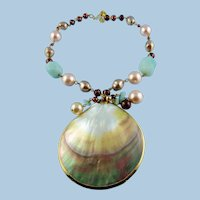 Mother Of Pearl Pendant  Necklace With Rolled Gold Trim