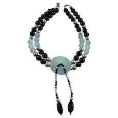 Signed  Designer Sterling Silver, Onyx, Lalique Style Glass Floral Statement Necklace