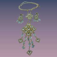 Vintage Juliana Crystal Bib Statement Necklace Demi Parure