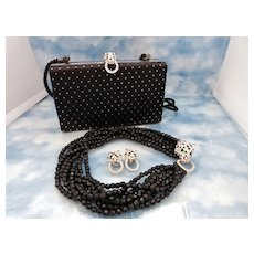 KJL Kenneth Jay Lane Panther Crystal Torsade Necklace Set & Matching Purse - Book Set