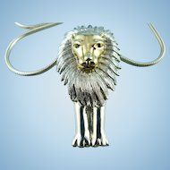 Silver Plated Mid Century Modern Lion Pendant & Thick Snake Chain Statement Convertible Necklace.