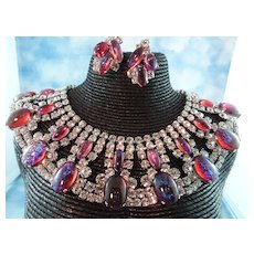 ON HOLD: Signed Robert Sorrell Mexican Opal / Dragons Breath & Crystal Egyptian Collar Necklace Set
