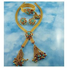 Signed Hattie Carnegie Golden Mesh Turquoise Glass Bead & Raspberry Crystal Full Parure