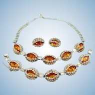 Vintage Hattie Carnegie Stunning Citrine Necklace Bracelet & Earring Set