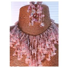 Icy Pink Art Glass Crystal Heavenly Festoon Statement Necklace Set