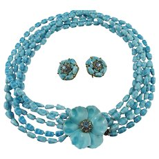 Vintage Signed Selini Periwinkle Blue Demi Parure