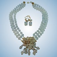 Designer Signed Vendome Three Strand Faceted Crystal & Goldtone Drop Front Statement Necklace set