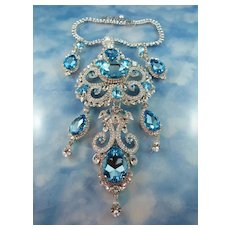 HOLD FOR LISA:Signed Thorin & Co Austrian Aqua Crystal Convertible Statement Demi Parure