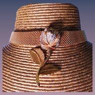 Signed Kenneth Jay Lane KJL Mesh Golden Crystal Rose Necklace
