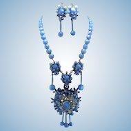 Signed Stanley Hagler Carolina Blue Moonstone & Marquis Rhinestone Necklace Set