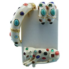 "Signed Kenneth Jay Lane KJL Rare Jeweled ""Fantasy"" Set: Bracelet Leopard Pin Earrings Book Set"