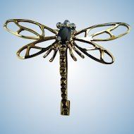 Signed 9KT Yellow Gold Sapphire & Diamond Dragonfly Pin From Ireland : Appraisal Included