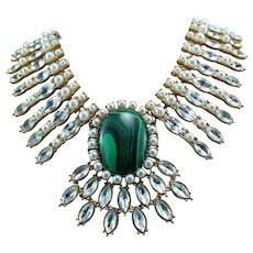 Signed Oscar De La Renta Gold Tone Malachite Crystal Couture Statement Necklace