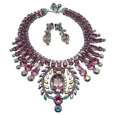"ON HOLD: Signed Thorin & Co ""Pretty In Pink"" Old Hollywood Style Crystal Statement Parure"