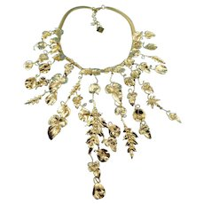 On Hold: By Michela Panero Made In Milan Gold Dipped Brass & Fresh Water Pearl Botanical Garden Statement Necklace