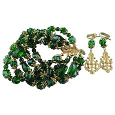 Signed Artisan Multi Strand Emerald Crystal & Gold Tone Bracelet & Earring Set