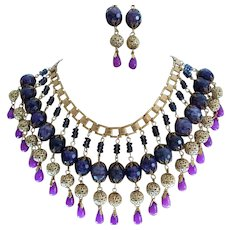 Hand Made By Butterfly Blue Crystal/Glass Bib Front Statement Necklace Set