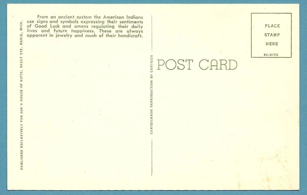 Curteich Postcard Of Native American Indian Symbols 1958 Sold