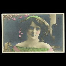 Real Photo Tinted Postcard of British Actress Mabel Green - Red Tag Sale Item