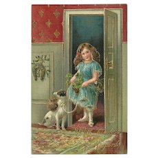 Embossed Vintage German Postcard with Girl and Dog