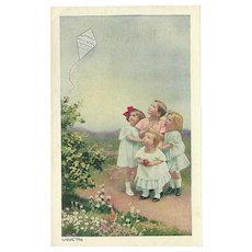 Vintage 1916 Advertising Postcard for Humphreys' Witch Hazel Ointment - Children and Kite