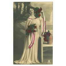 Tinted 1909 Photo Postcard of Lady in White with Red Roses