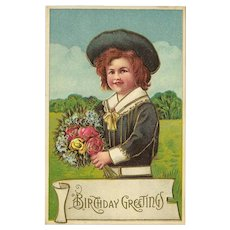 Vintage Embossed Postcard with Young Boy - Birthday Greetings