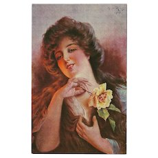 Riesen 1917 Signed Postcard of Lady with Yellow Rose
