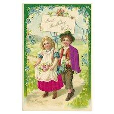 Vintage Embossed Silk Birthday Postcard of Boy and Girl