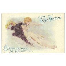 Ullman 1905 Vintage Postcard of Woman with Cherub