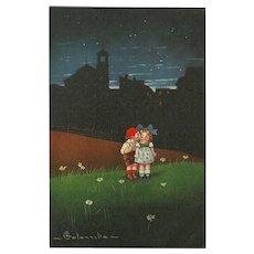 Columbo Vintage Artist Signed Postcard of Two Children