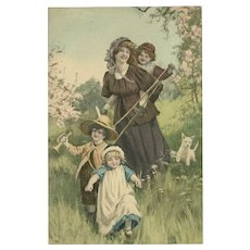 M.M. Vienne Vintage Postcard of Mother with Three Children and Dog