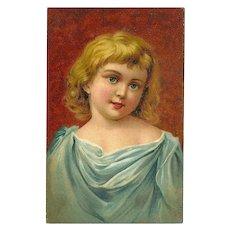 Vintage Postcard of Blonde Girl with Blue Dress