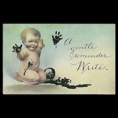 Vintage Postcard of Baby Covered in Ink - Reminder to Write