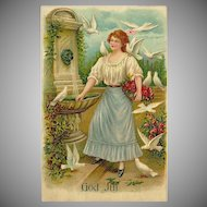 Embossed Vintage German Postcard of Lady with Doves - God Jul