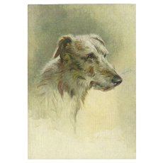 Small Advertising Embossed Postcard for De Reszke Cigarettes Deerhound