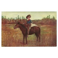 Undivided 1905 Postcard of Cowgirl on Horseback with Rifle - Looking for Game - Red Tag Sale Item