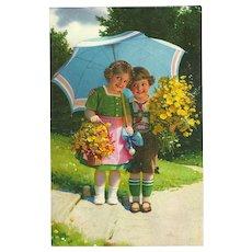 Vintage German Postcard of Two Children Under Umbrella