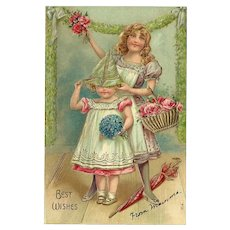 Vintage Embossed Best Wishes German Postcard - Two Girls