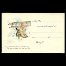 Embossed Vintage Baby Announcement Postcard - Baby in Airplane - Red Tag Sale Item