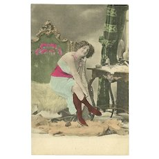 Risque Vintage Tinted Postcard of Lady in Bedroom