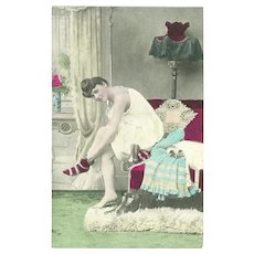 Vintage Risque Tinted Postcard of Lady in Bedroom - Red Tag Sale Item