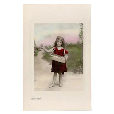 Vintage Tinted Photo Postcard of Young Girl Selling Cigarettes
