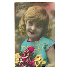 Vintage Tinted Real Photo Postcard of Girl with Roses - Congratulations - Red Tag Sale Item