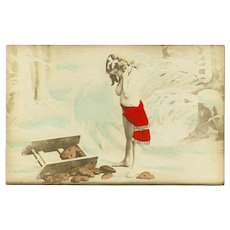 Undivided Tinted Photo Postcard of Girl with Heart Shaped Cookies