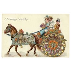 Vintage Embossed Birthday Postcard with Horse Drawn Carriage - Red Tag Sale Item