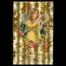Undivided 1907 Embossed Friendship Postcard with Young Girl and Roses - Red Tag Sale Item