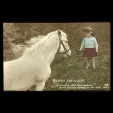 Vintage 1913 Tinted Photo Postcard of Young Girl with White Horse - Red Tag Sale Item